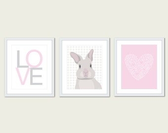 Baby Nursery Print Set - Modern Home Decor - Pink - Bunny Love Heart - Easter - Spring Pastel Colors