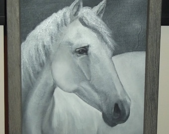 Original Oil Painting Snowman Horse Portrait in Black and White Framed