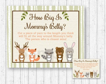 Woodland Forest Animal How Big Is Mommy's Belly Game / Woodland Baby Shower / Baby Shower Game / Belly Guessing Game / INSTANT DOWNLOAD A187