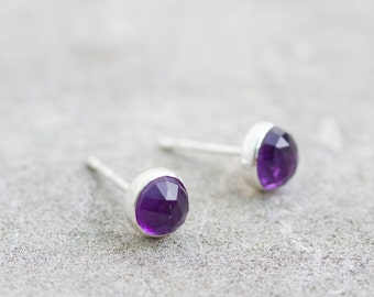 Minimalistic stud earrings with African Amethyst, sterling silver, 5mm studs