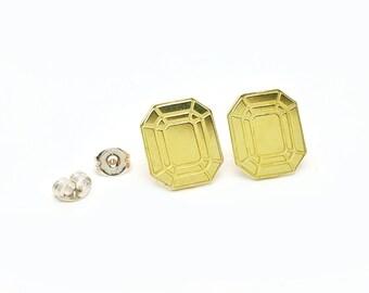 Faceted Emerald Brass Post Earrings // LanaBetty