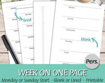 Personal - EN - Week on One Page, Lined, To Do List, Monday and Sunday Start - Undated Weekly Insert - Printable Planner Insert, PDF