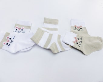 3 pairs of white and beige Brown baby baby socks with kitten and stripe 6-9 months months 68-74