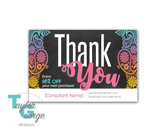 Fashion Consultant Thank You, Discount Card - Paisley