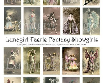 FAERIE FANTASY SHOWGIRLS digital collage sheet, Victorian women, vintage photos, French postcards, cabaret costumes, art ephemera Download
