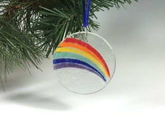Rainbow Ornament, Fused Glass, Glass Rainbow, Sun Catcher