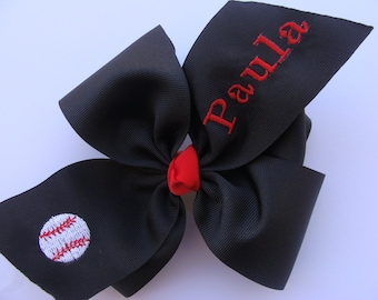 Baseball Hair Bow Personalized with Name or Initial, Softball Girls Hairbow, You Choose Colors, www.MaciesCustomBowZ.etsy.com