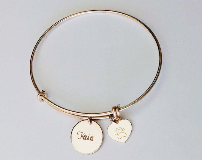 Featured listing image: Pet remembrance bracelet, pet memorial bracelet, dog mom bracelet, dog jewelry personalized, paw heart pendant, pet bangle bracelet