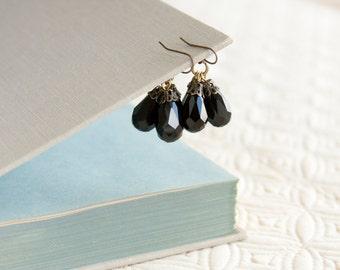 Black Antique Earrings, Faceted Glass Teardrop Beads, Brass, Neo Vintage Jewelry
