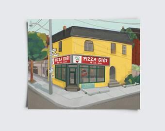 Pizza Gigi, Toronto Pizzeria, Harbord, Picky People Pick Pizza Gigi, Restaurant Print, Toronto Print, 8 x 10 inch giclee