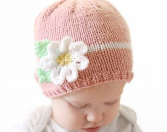 Baby Flower Hat KNITTING PATTERN / Easy Baby Hat Pdf / Spring Hat Kids / Flower Hat Pattern / Knit Flower Pattern / Easy Knit Baby Hat