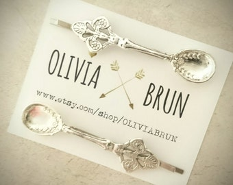 Silver Spoon Bobby Pins Silver Spoon Hair Pins Hair Clips Silver Bobby Pins Tea Spoon Pins Spoon Jewelry Hair Accessories