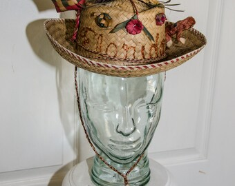 Rare Vintage 1950s Florida Souvenir Straw Cowboy Hat
