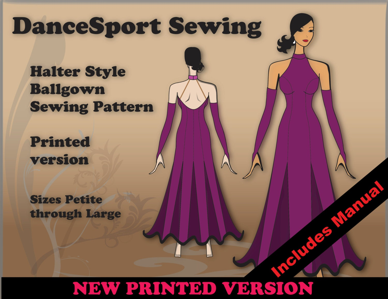 Halter Style Ballroom Gown Sewing Pattern, PRINTED Version, plus ...