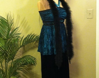 Flapper Original Gatsby Roaring 20s Deco Kleid 4-Pc. Dark Teal Flapper Costume, Size Medium.  FREE US Shipping!