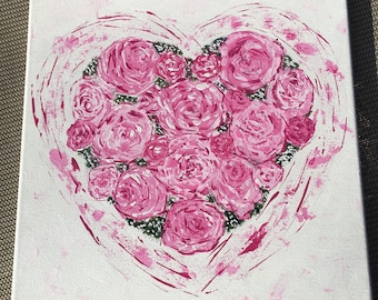 Rosy heart/pallet knife painting
