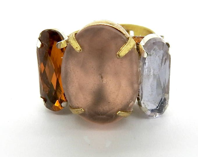 Gyspy jewelry ring pink rose blush crystal