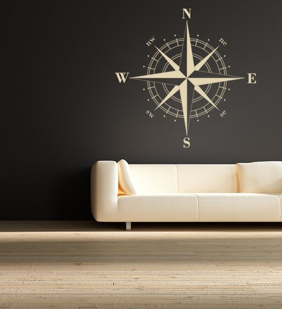 Compass Decals, Compass Rose Nautical Vinyl Wall Decal, Great Fathers Day gift, Holiday Gifts