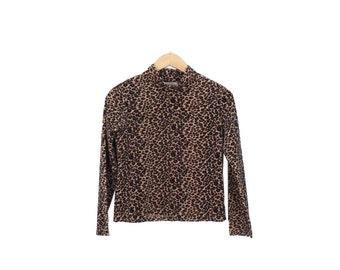 Vintage 90s Fuzzy Leopard Print Long Sleeve Top Size S