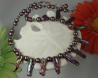 SALE Pearl Necklace Mauve n Blues Stick Pearl Crystal