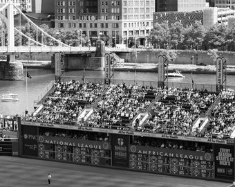 Scoreboard at PNC Park, Home of the Pittsburgh Pirates, 8x10, black and white, fine art print