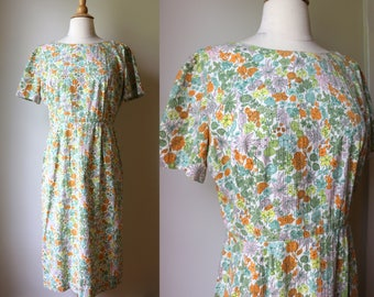 1950s 60s Floral Stunning Day Dress Mad Men Era M L