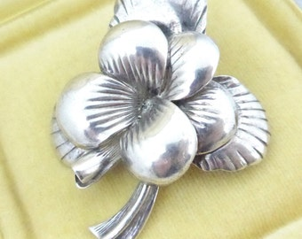 Vintage Marked 925 Sterling Silver Flower Brooch Pin