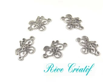 Flower connectors, wine, 2 holes, length 24 mm, width of 15.5 mm, thickness 2 mm, hole 2 mm, silver, 10 pieces leaf pendant