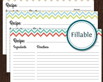 Recipe Card - Colourful Chevron - Fillable - 4x6 recipe card - Printable PDF - Instant Download - Household Binder