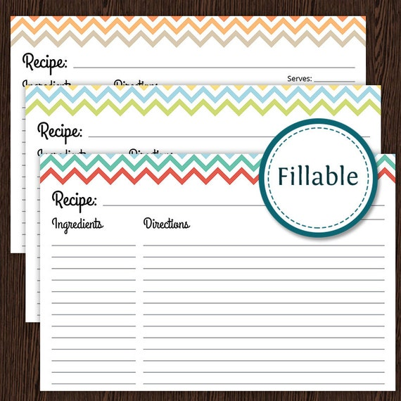 recipe card colourful chevron fillable 4x6 recipe card