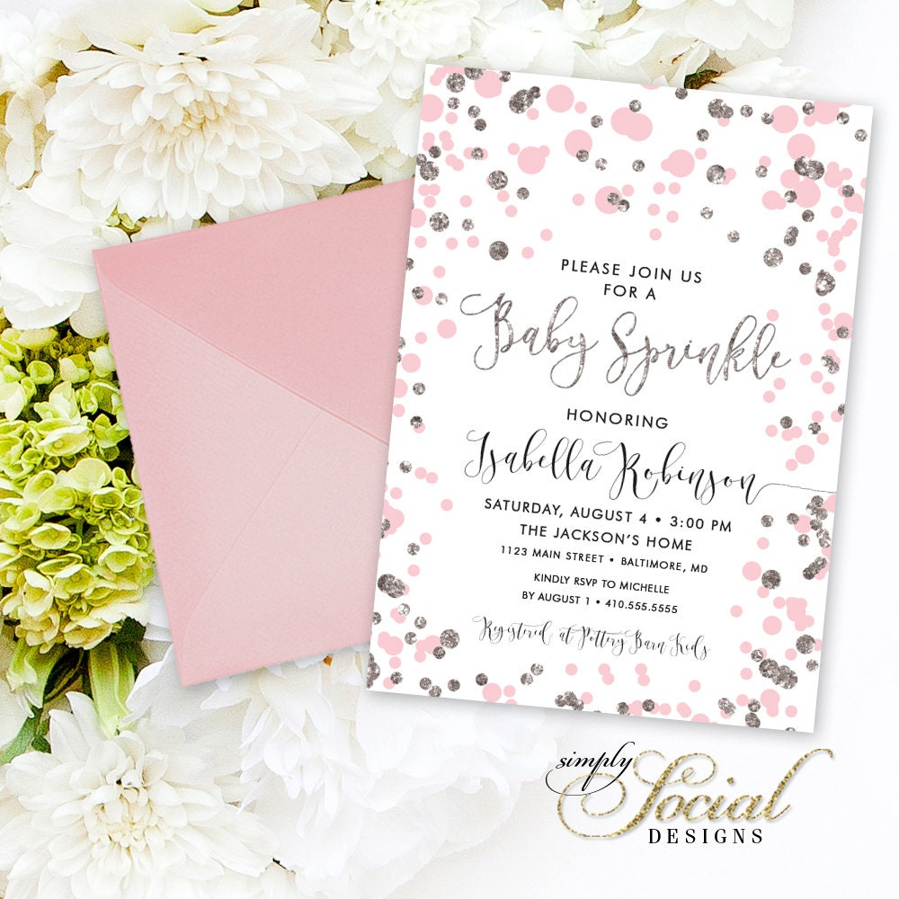 Pink Confetti Baby Shower Sprinkle Invitation - Blush and Silver ...