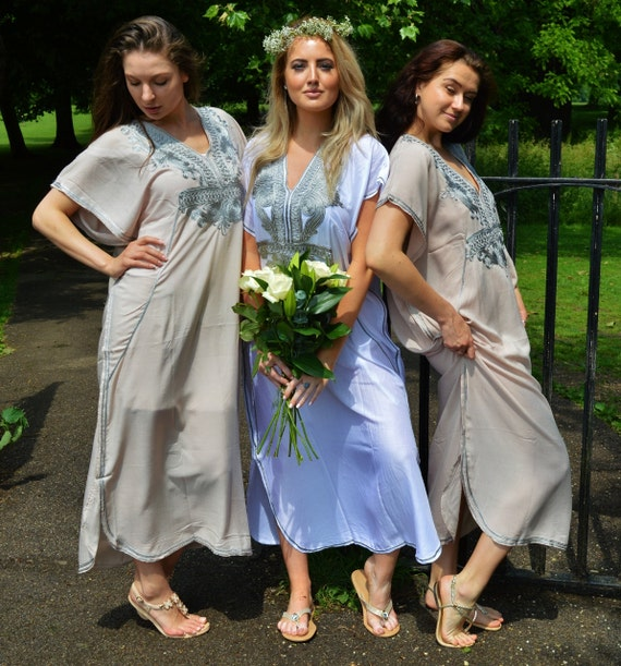 Set of 8 Bridesmaid robes,Bridesmaid gifts, White Silver Marrakech One Size Moroccan Kaftan-Beach wedding, bridal shower party, baby shower
