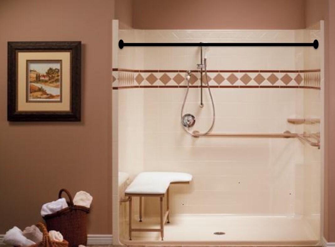 Shower curtain rod plumbing pipe repurposed industrial decor