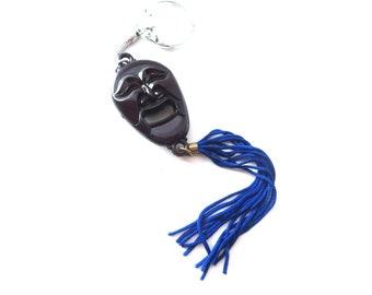 Silver Tone Metal Brown Platic Smiling / Grinning Aboriginal / Ethnic Tiki Man / Oriental Man & Blue Tassel Vintage Keychain