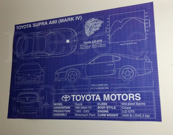 Toyota supra a80 mark iv 4 blueprint specs poster 27x39 malvernweather Images