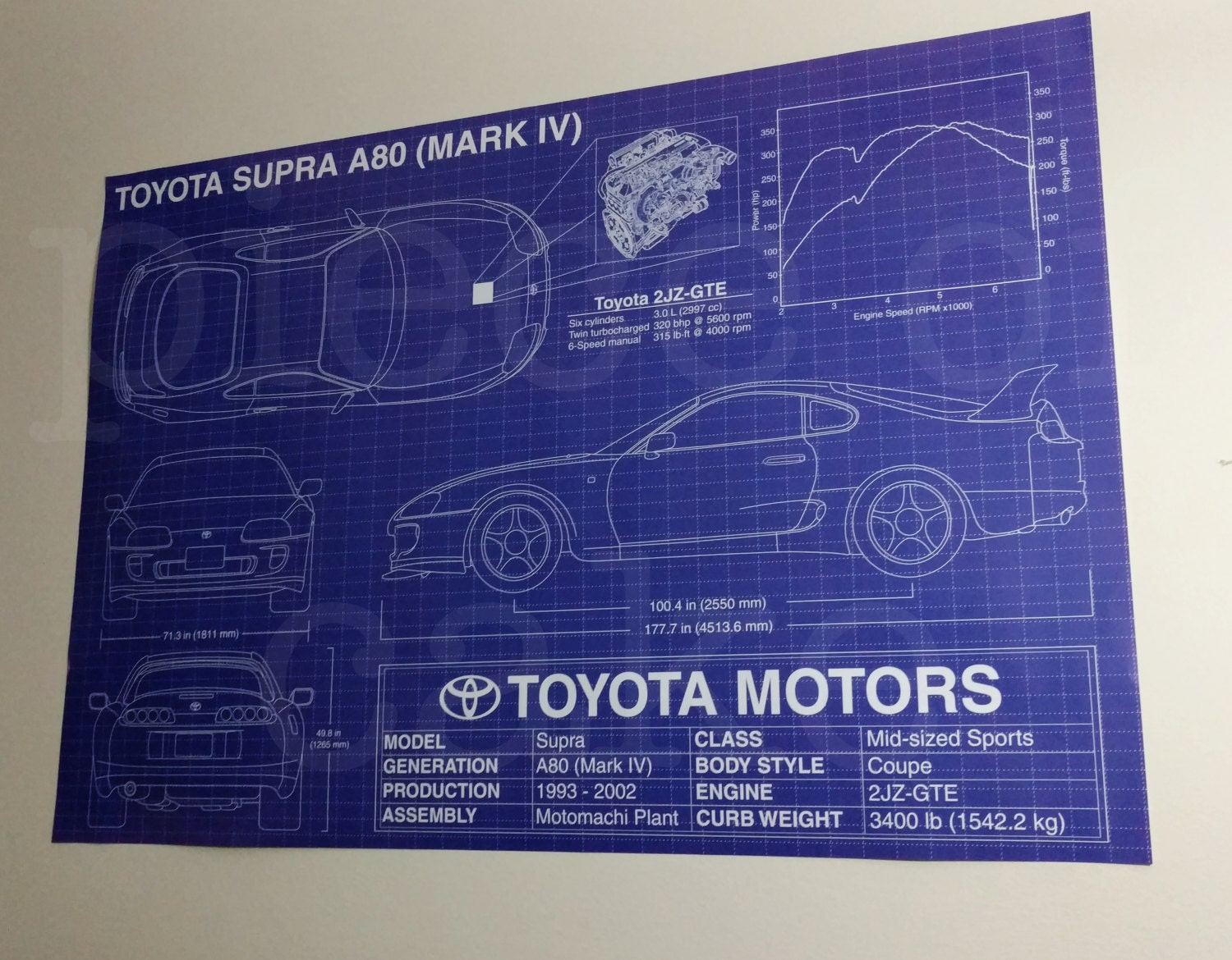 Toyota supra a80 mark iv 4 blueprint specs poster 27x39 zoom malvernweather Images