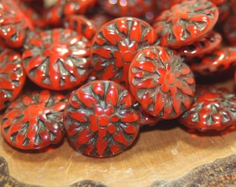 Czech Glass Beads, Dahlia Flower, 14mm, 10 Beads