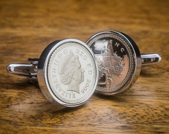 five pence coin cufflinks - choice of date  1990-2010