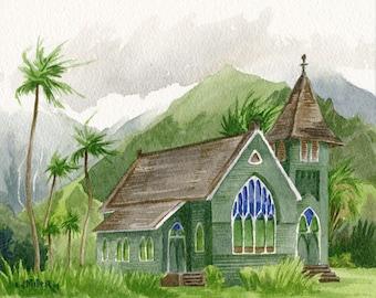 Hanalei Green Church Kauai art print : Waioli Huiia, Hawaii artwork, Hawaiian landscape watercolor painting, green tropical palm trees