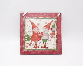 Wall decoupage decoration, Christmas decoration, decoupage Christmas decoration, Christmas ornament, wall ornament, Christmas elves