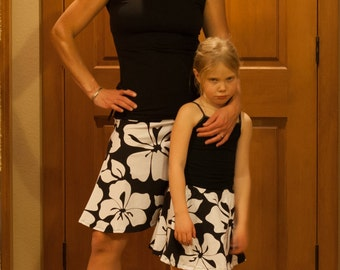 Mom Daughter Look Alike Spandex Skirt Shown in Black and White