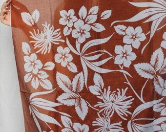 FLOWERS Print Shawl Floral thin cotton Handkerchief printed Vintage KREIER Scarf Brown white Large Neck Scarf Mod Switzerland Women Moms