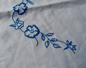 Vintage Table Topper Tea Towel Napkins Linen White Handmade Lace Trim Blue Embroidered Flowers Embroidery Floral Kitchen Dining Decor