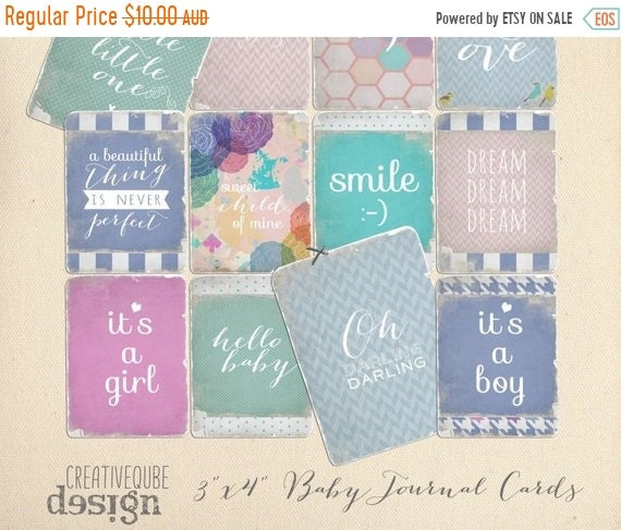 "70% OFF Sale Shabby and worn 3"" x 4"" Digital Baby Quote Printable Journaling cards for Scrapbook, blogs, Newborn photos"