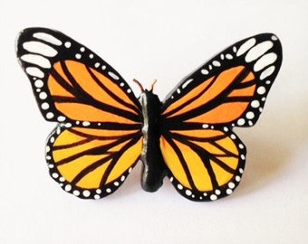 Beautiful Monarch Butterfly Brooch, Handcrafted Pin