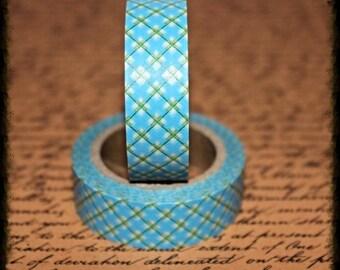 Turquoise Plaid - Japanese Washi  - Paper - Masking - Tape - 5 Metres - Art - Junk - Journal - Smash Book - Planner - Collage - Mixed Media