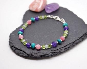Gemstone Healing Bracelet * Gift for Her * Silver Jewellery * Dainty Bracelet * Birthday Gift * Crystal Healing * Gemstone Meaning Symbolism