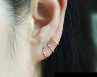 Cartilage Hoop Earrings,Cartilage Earrings,Nose Ring, Piercing Earrings,Seamless Hoop,Sterling Silver,Helix,Tragus,Ear Lobe