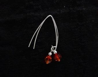 Firey Orange Crsytal Sliver Dangle Earrings
