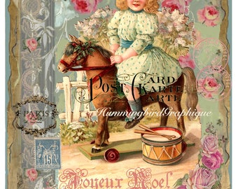 French VICTORIAN GIRL and PONY Large Image Instant Download Shabby Chic Vintage Transfer Fabric digital Pillow Transfer Decoupage png jpg